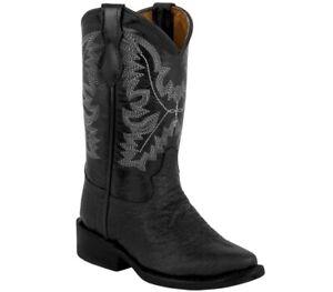 Boys Kids Black Buffalo Cowboy Boots Bull Pattern Western Leather Rodeo Children
