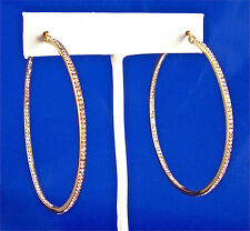 STAINLESS STEEL THIN GOLD TONE IN & OUT CRYSTAL SET ROUND HOOP EARRINGS