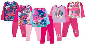 Girls Kids Trolls Poppy Long Sleeve Pyjamas Dolls PJs PJ Set Snuggle Cotton