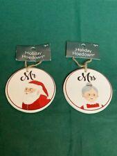 Two Round Holiday Hoedown Ornaments, Mr. Santa & Mrs. Santa, New With Tag