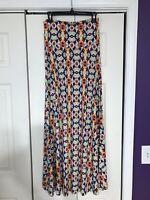 Lularoe Maxi Skirt Orange Blue Tribal Aztec Print Size XS