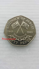 SCARCE*1985*UNC*BAILIWICK OF JERSEY LIBERATION 1945 LARGE OLD 50P COIN