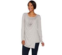 H by Halston Long Sleeve Wrap Front Cowl Neck Knit Top Hthr Light Grey Size L