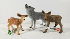 Schleich Gray Howling Wolf Moose Fawn Forest Woodland Animal Figure