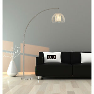 One-Arched Floor Lamp Modern Brushed Steel finished with LED Dimmer Light Switch