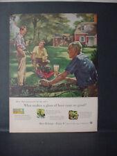 1955 US Beer Brewers Guys Lawn Mower Yardwork #108 in Ser Vintage Print Ad 11391