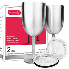Stainless Steel Wine Glasses 18/8 Double Wall Insulated Goblets (Set of 2) 12 oz
