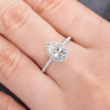 2ct Pear Cut VVS1 D Diamond Solitaire Engagement Ring 14k White Gold Over