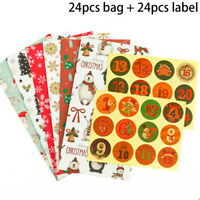 24pcs Christmas Candy Gift Paper Bags Xmas Cookie Sweets Packaging Party Boxes