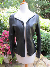 VERA PELLE Black White Leather Jacket Coat  ITALY Size 38 US 2, MINT