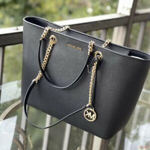 Michael Kors Women Large Leather Shoulder Tote Black Handbag Purse Bag Black MK