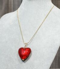 """Murano Glass Heart, Deep Red Pendant, 18ct Gold Filled 16"""" Chain"""