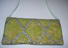 Women's Purse Evening Bag Lime Green Sequins Silver Beads & Turquoise Fabric