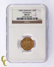 1909J Germany 10 Mark Gold Coin Hamburg NGC Graded MS63 KM# 608