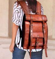 Genuine Leather Backpack 18 Inch Laptop Bag Rucksack Daypack Travel Handbag