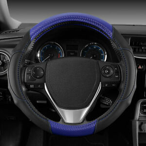 Carbon Fiber Grip Leather Steering Wheel Cover Universal Fit by Motor Trend Blue