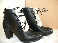 NEW WOMENS SIZE 9.5 UGG ANALISE EXPOSED FUR BLACK LEATHER SHEEPSKIN ANKLE BOOTS