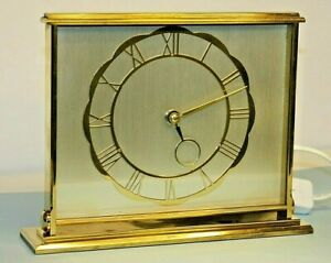 Vintage Retro 1960's, SMITHS  Brass Mantel Clock Electric good working condition