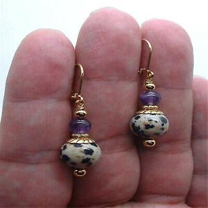 Dangling Balmatin Amethyst Gold Earrings 18k Hook chain Aurora Earlobe women