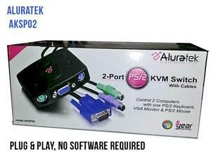 Aluratek 2 Port PS/2 KVM Switch-6 ft Cables AKSP02 Control 2 Computers-FREE Ship