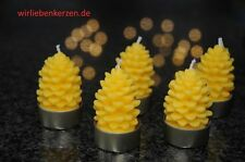 5 Tea Light Bees Wax Candles Pine Cone tealights 100% BEES WAX & 5 Covers