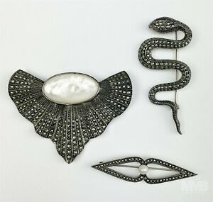 LOT Judith Jack Sterling Silver 925 Mother Pearl MOP Brooch Pins & Earrings BWA