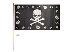 5' Wood Flag Pole Kit Wall Mount Bracket 3x5 Pirate Skull & Bones W/ Border Flag