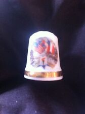 Fine Bone China Thimble - USA, Canada, France And Great Britain Flag Design