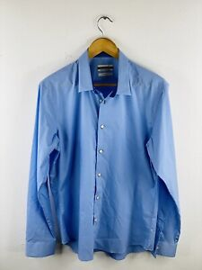 Gianni Valentino Men's Long Sleeve Button Up Slim Fit Shirt Size US 2XL Blue