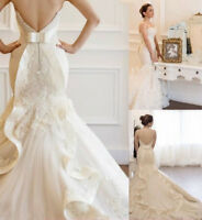 White/Ivory Wedding Dresses Bridal Gowns Sweetheart Lace Applique Mermaid Train