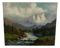 ANTIQUE MOUNTAIN LANDSCAPE PAINTING MOUNT EDITH CAVELL CANADA JOHN DELANE LISTED