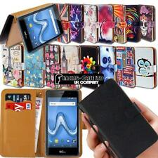 Leather Wallet Stand Flip Case Cover For Various Wiko Phones + Strap