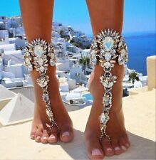 AB White Rainbow Crystal Rhinestone Slave CUFF Sleeve Bracelet Anklet