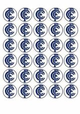 30 AFL Carlton The Blues FC Edible WaferPaper Cupcake Cup Cake Decoration  Image