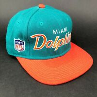 Vintage Maimi Dolphins Sports Specialties The Pro Script Fitted Hat Green Orange
