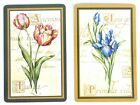PAIR SWAP CARDS. TULIP & IRIS FLOWERS BOTANICAL ART DESIGN. CANADA. MINT