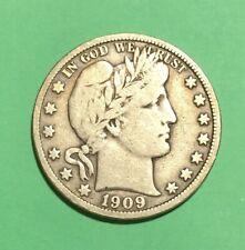 1909 50C Barber Half Dollar, Vf, Super Nice