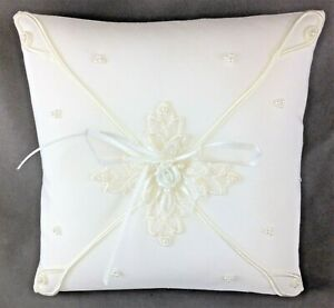 """White Satin 6 1/2"""" Square Ring Bearer Pillow Floral Applique Beads w/Trim - NEW"""
