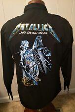 Rare VTG Metallica And Justice for All Black L/S Metal Snap Shirt Men's XL
