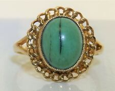 9CT 9 CARAT YELLOW GOLD CABOCHON TURQUOISE SINGLE STONE  RING  L