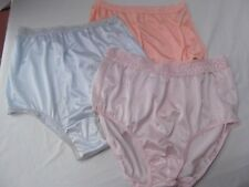 vtg lot 3 brief panties lingerie silky nylon lace sz 7 National Hanes blue pink