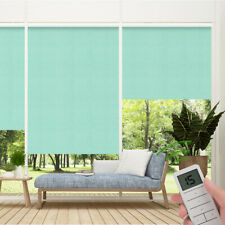 Fireproof Blackout Remote Control Motorized Window Roller Shade Blind, Green