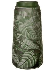ART NOUVEAU GALLE STYLE VASE ca.36cm grüne CAMEOGLAS VASE mit PFLANZEN, BLÄTTERN