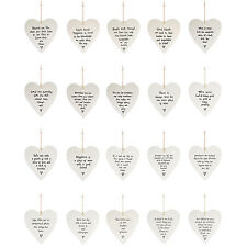 East Of India Porcelain Ceramic Hanging Heart Shabby Chic Sentiment Friend Gift
