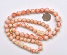 Vintage Chinese Salmon Coral Carved Carving 13mm Bead Necklace 90 Gram