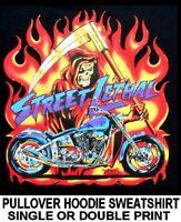 STREET LETHAL REAPER DEATH CHOPPER MOTORCYCLE BIKER SKULL HOODIE SWEATSHIRT AM7