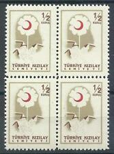Turkey 1957 Sc# RA207 Flower Kizilay block 4 MNH