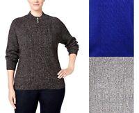 Karen Scott Women's Plus Size Cable Knit Embellished Mock Neck Pullover Sweater