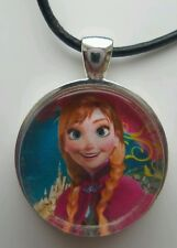 """""""ANNA SMILING"""" Disney's Frozen. Glass Pendant with Leather Necklace"""