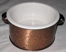 "Hammered 6"" Copper Metal Holder w White Teleflora Bowl Vase"
